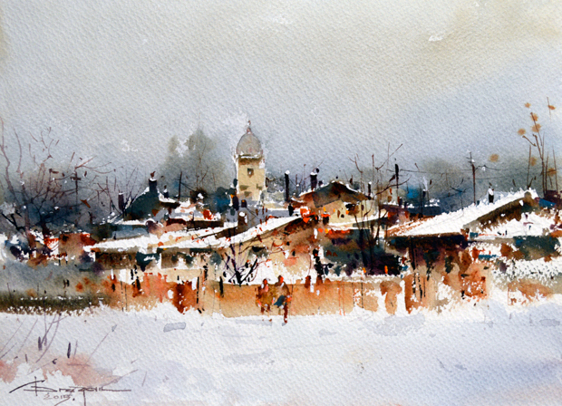 Watercolour-Acuarela-Corneliu-Dragan-Targoviste-peisaj-rural-20