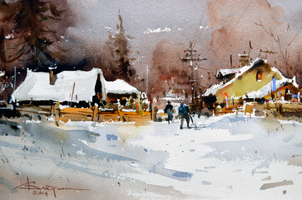 Watercolour-Acuarela-Corneliu-Dragan-Targoviste-peisaj-rural-21
