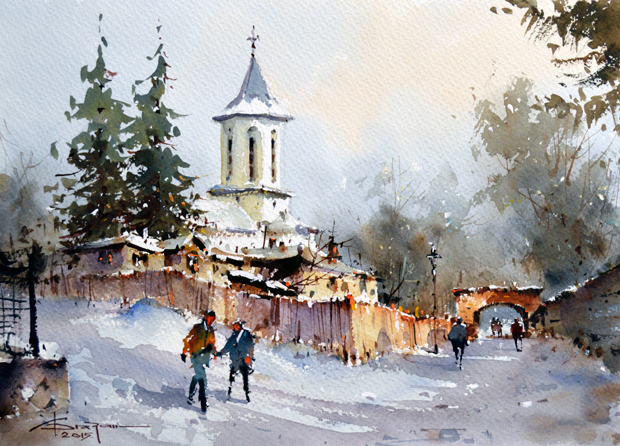 Watercolour-Acuarela-Corneliu-Dragan-Targoviste-peisaj-rural-22