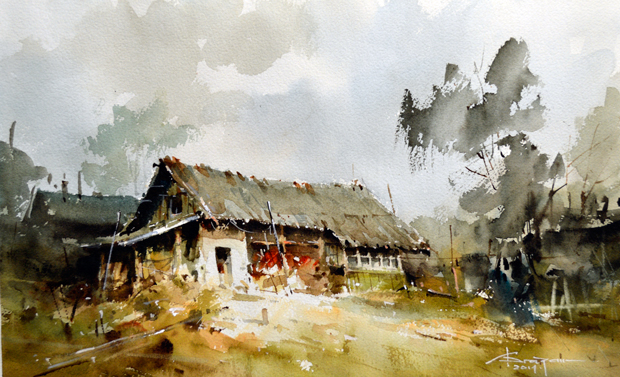 Watercolour-Acuarela-Corneliu-Dragan-Targoviste-peisaj-rural-24