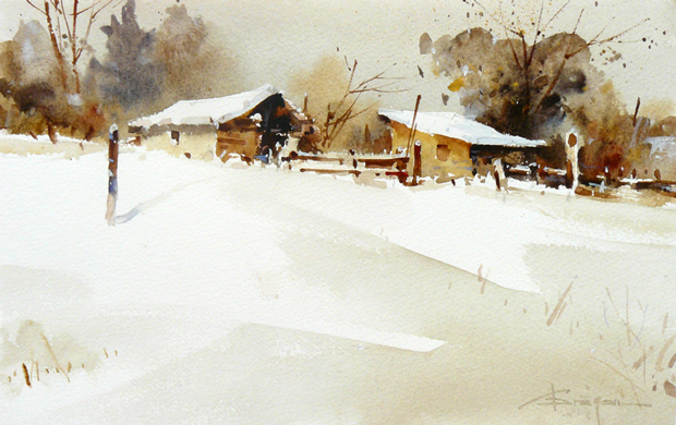 Watercolour-Acuarela-Corneliu-Dragan-Targoviste-peisaj-rural-29