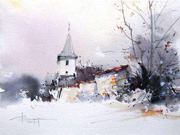 Watercolour-Acuarela-Corneliu-Dragan-Targoviste-peisaj-rural-3