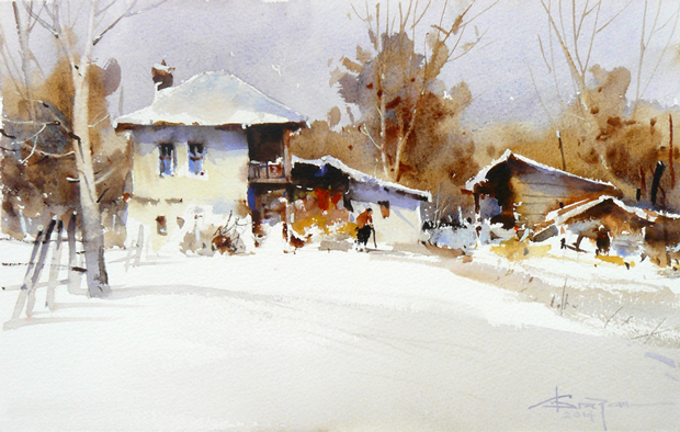 Watercolour-Acuarela-Corneliu-Dragan-Targoviste-peisaj-rural-30