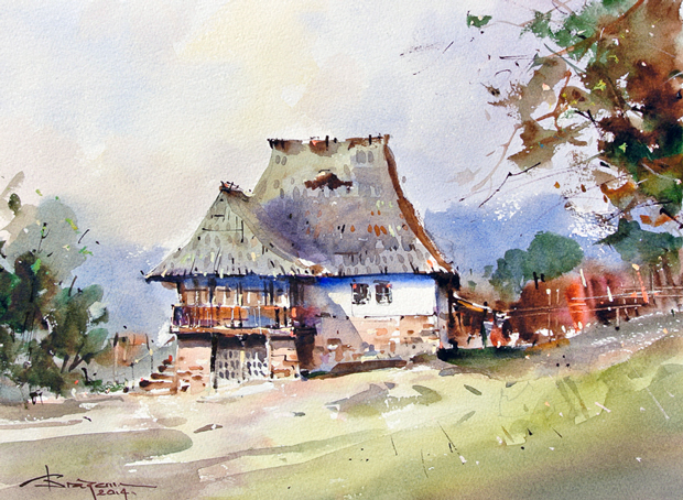 Watercolour-Acuarela-Corneliu-Dragan-Targoviste-peisaj-rural-34