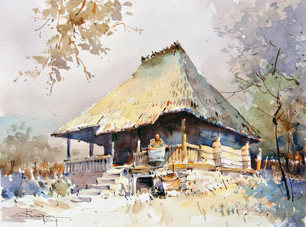 Watercolour-Acuarela-Corneliu-Dragan-Targoviste-peisaj-rural-35