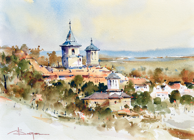 Watercolour-Acuarela-Corneliu-Dragan-Targoviste-peisaj-rural-36
