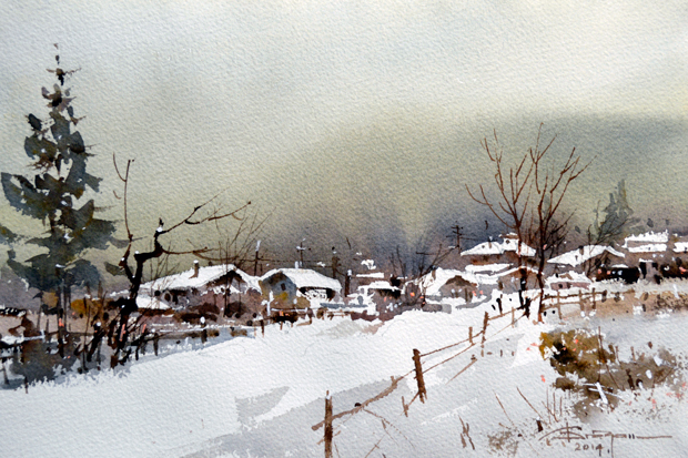 Watercolour-Acuarela-Corneliu-Dragan-Targoviste-peisaj-rural-5