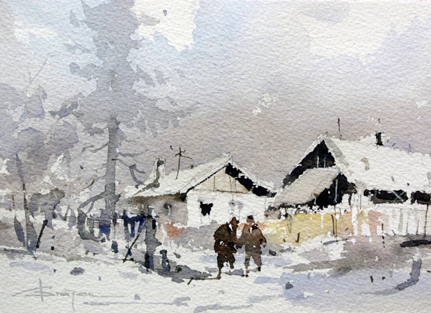 Watercolour-Acuarela-Corneliu-Dragan-Targoviste-peisaj-rural-6