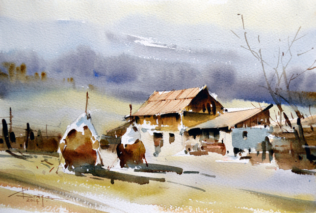 Watercolour-Acuarela-Corneliu-Dragan-Targoviste-peisaj-rural-8