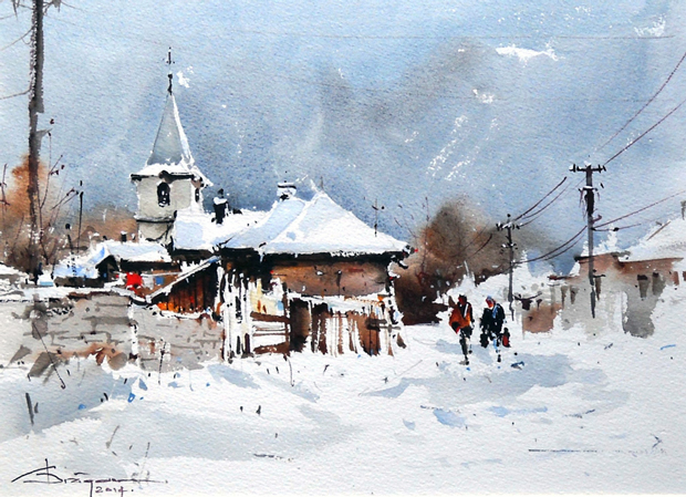 Watercolour-Acuarela-Corneliu-Dragan-Targoviste-peisaj-rural-9
