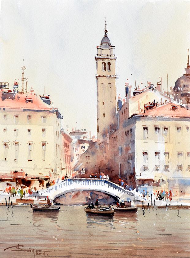 Watercolour-Acuarela-Corneliu-Dragan-Targoviste-peisaj-venetia-1
