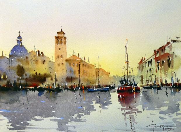 Watercolour-Acuarela-Corneliu-Dragan-Targoviste-peisaj-venetia-7