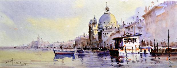 Watercolour-Acuarela-Corneliu-Dragan-Targoviste-peisaj-venetia-8