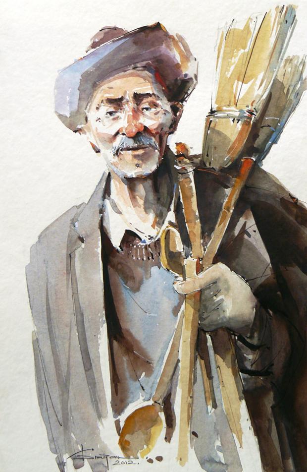 Watercolour-Acuarela-Corneliu-Dragan-Targoviste-portret-8