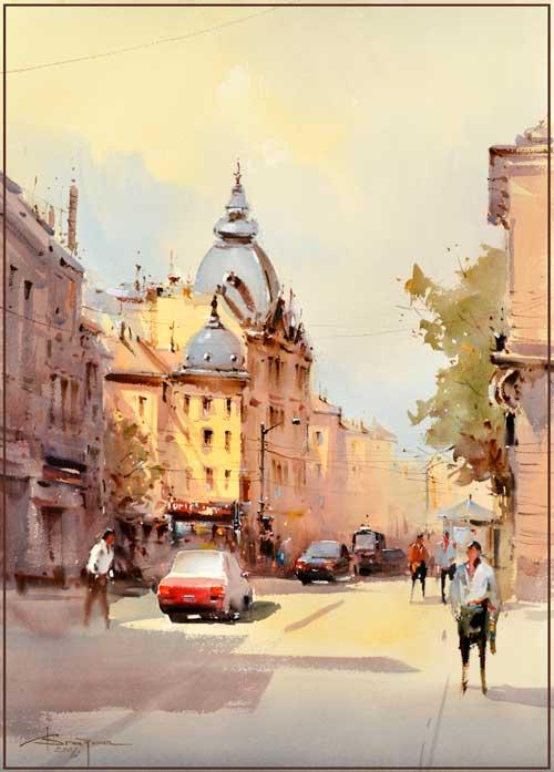 Corneliu-Dragan-Targoviste---Sofia-street-First International Watercolour Triennial Varna Bulgaria